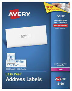 Avery Easy Peel Permanent adhesive Address Labels For Laser Printers 1 X 2 5