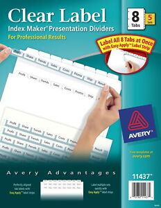 Avery Index Maker 5 tab Clear Label Dividers For Laser And Inkjet Printers W