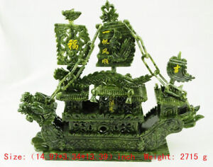 14 97 Inch 100 Natural Hand Carved Southern Taiwan Jade Dragon Boat