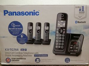 Panasonic Link2cell Bluetooth Cordless Telephone 4 Handset Kx tg744 Phone System