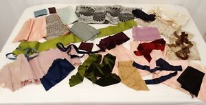 Lot Antique Trim Ribbon 31 Pieces Silk Satin Taffeta Brocade Grossgrain Velvet