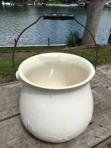 Antique Large Lafayette Vintage White Porcelain Pot Or Vase And Handle