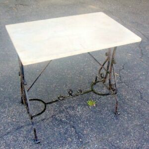 Antique French Pastry Accent Table Wrought Iron Marble Top Garden Villa Chic