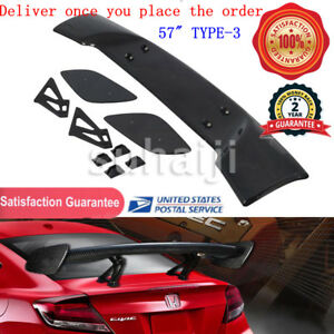 57 Type 3 Universal Carbon Fiber Adjustable Rear Trunk Gt style Spoiler Wing Us