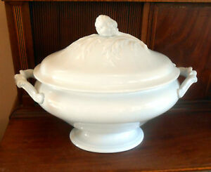 Huge Antique French Victorian 1860 1880 White Ironstone Soup Tureen