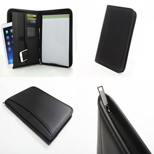 Executive Zippered Portfolio Binder Rfid Blocking Sleeve Professional Folder Lea