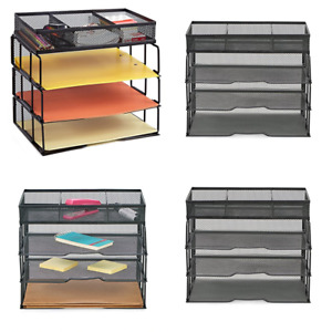 Proaid Mesh Office Desk Organizer 3 Tier Stackable Letter Tray Sorter W Compartm