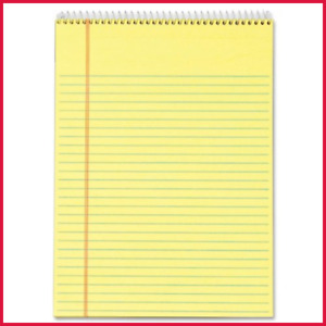Tops Docket Writing Tablet Top Wirebound 8 1 2 X 11 3 4 Canary Legal wide Rule