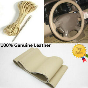 Car Premium Beige Genuine Leather Steering Wheel Cover 38cm 15 For Volvo Vw