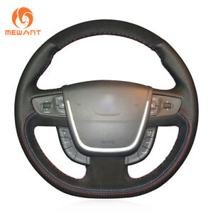 Hand Stitch Nonslip Black Suede Leather Car Steering Wheel Cover For Peugeot 508