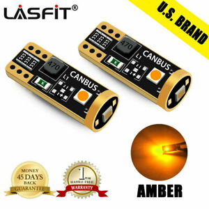 Lasfit 168 194 192 2825 T10 Led Side Marker Light Bulbs Amber Canbus Error Free