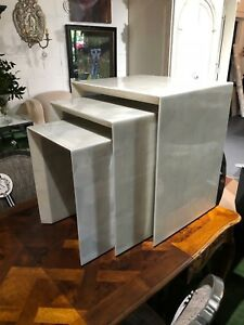 Jozlyn Made Goods Hand Laid Faux Horn 3 Nesting Tables Light Gray Finish