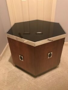 Mid Century Modern Large Hexagon End Table Black Glass Top Chrome Wood Laminate