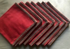 Vintage French Red Linen Dinner Napkins Contry Style Woven Ribbon Hem 19 1 4