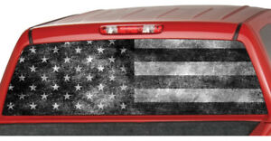 Old Bw American Flag Striped Banner Truck Rear Window Graphic Decal Tint Suv