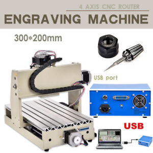 Cnc Router 4 Axis 3020 3d Cutter Engraving Drilling Machine Usb Engraver T screw