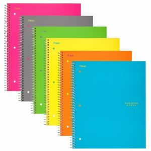 Spiral Lock Notebooks College Ruled Paper 100 Sheets Assorted Colors 6 Pack New