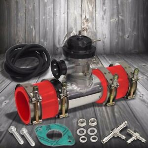 Black 30 Psi Turbo Blow Off Valve 2 5 Flange Pipe 4 Clamps 2 Red Silicone Hose
