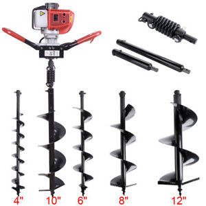 52cc Gas Power Earth Auger Post Fence Hole Digger Drill 4 6 8 10 12 Bits