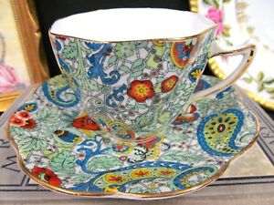 Rosina Tea Cup And Saucer Paisley Chintz Pattern Swirl Teacup Green Blue Floral