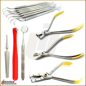 Professional Orthodontic Tools Kit Bracket Removing Plier Distal End Wire Cutter