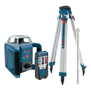 1300 Ft Self Leveling Rotary Laser Level Kit 4 Piece Measuring Tool By Bosch