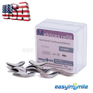 50pc Dental Metal Matrices Sectional Contoured Matrix Refill Package S m l usa