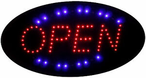 Animated Oval Led Running Neon Light Open Business Sign Super Size 19 x 10