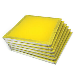 6 Aluminum Silk Screen Printing Press Screens 355 Tpi Yellow Mesh 20 x24