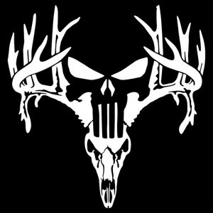 Deer Punisher Antlers Browning Hunting Skull Decal Car Truck Jeep Window Sticker