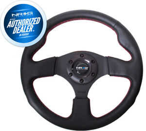 New Nrg Leather Steering Wheel W Red Stitch 320mm Type R Style Rst 012r Rs