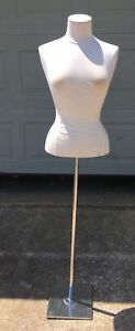 Vintage Lady Mannequin Torso Hard Form With Cloth Cover Stand