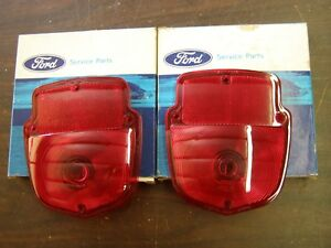Nos Oem Ford 1953 1964 Truck Pickup Step Side Tail Light Lenses 1954 1955 1956