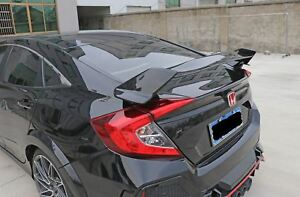 For 2016 2018 Honda Civic 4dr Sedan Type R Style Abs Rear Trunk Spoiler Lip Wing