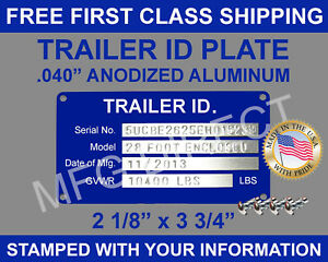 Stamped Trailer Id Tag Marked With Your Information Free Shipping Made In Usa