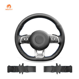 Hand Sew Black Pu Leather Steering Wheel Cover For Vw Golf 7 Gti Golf R Mk7 Polo