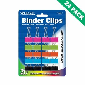Colorful Binder Clips Office Small 19mm Binder Paper Clips Metal Pack Of 24