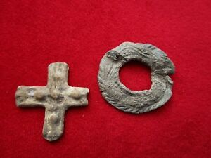 Mirror And Cross Ancient Roman Items Made Of Lead