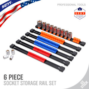 6pc Socket Organizer Mountable Sliding Holder Rail Rack Tool Storage 1 4 3 8 1 2