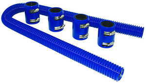 48 Blue Stainless Flexible Radiator Hose Kit W Billet Clamp Covers Chevy Ford