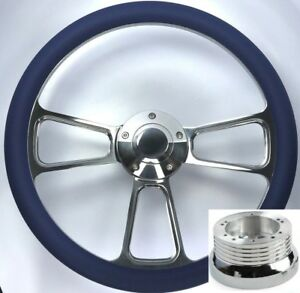 14 Polished Billet Steering Wheel blue Wrap Horn Button Adapter A01