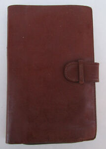 Bonded Brown Leather Wallet Organizer Planner Zip Coin Purse Made In Spain