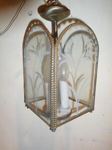 Vintage Etched Flowers Glass Brass Hanging Light Fixture For Porch Foyer Entry