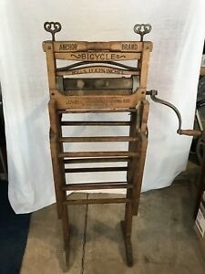 Antique Early American Washer Anchor Brand Folding Bench Laundry Wringer Bicycle