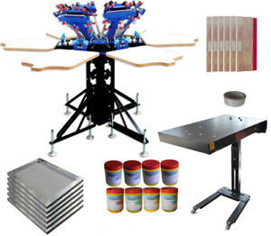 Micro registration 6 Color 6 Station Screen Printing Machine Flash Dryer Ink