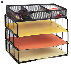 Proaid Mesh Office Desk Organizer 3 tier Stackable Letter Tray Sorter With 3