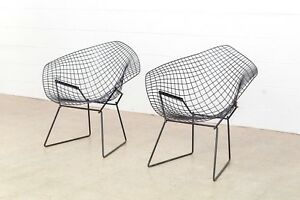 Mid Century Harry Bertoia Knoll Black Diamond Wire Chair Vintage Matching Pair