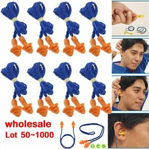 Lot 1000 Pairs Silicone Corded Ear Plugs Reusable Hearing Protection Earplugs Br