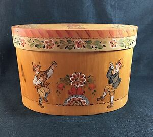 Very Charming Hand Painted Art Signed 1985 Wood Box Colonial Floral Cork 10 1 2