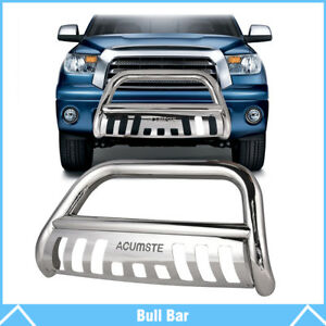 Chrome Bull Bar Push Bumper Grille Grill Guard For 2016 2018 Toyota Tacoma